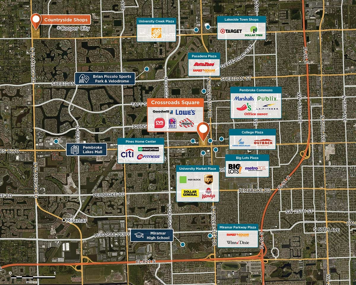 Crossroads Square Trade Area Map for Pembroke Pines, FL 33024