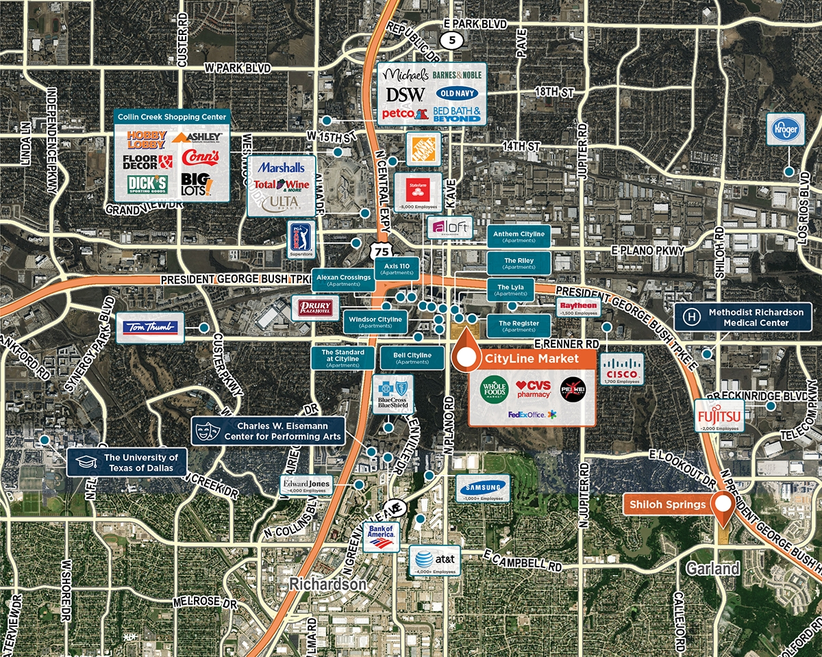 CityLine Market Trade Area Map for Richardson, TX 75082