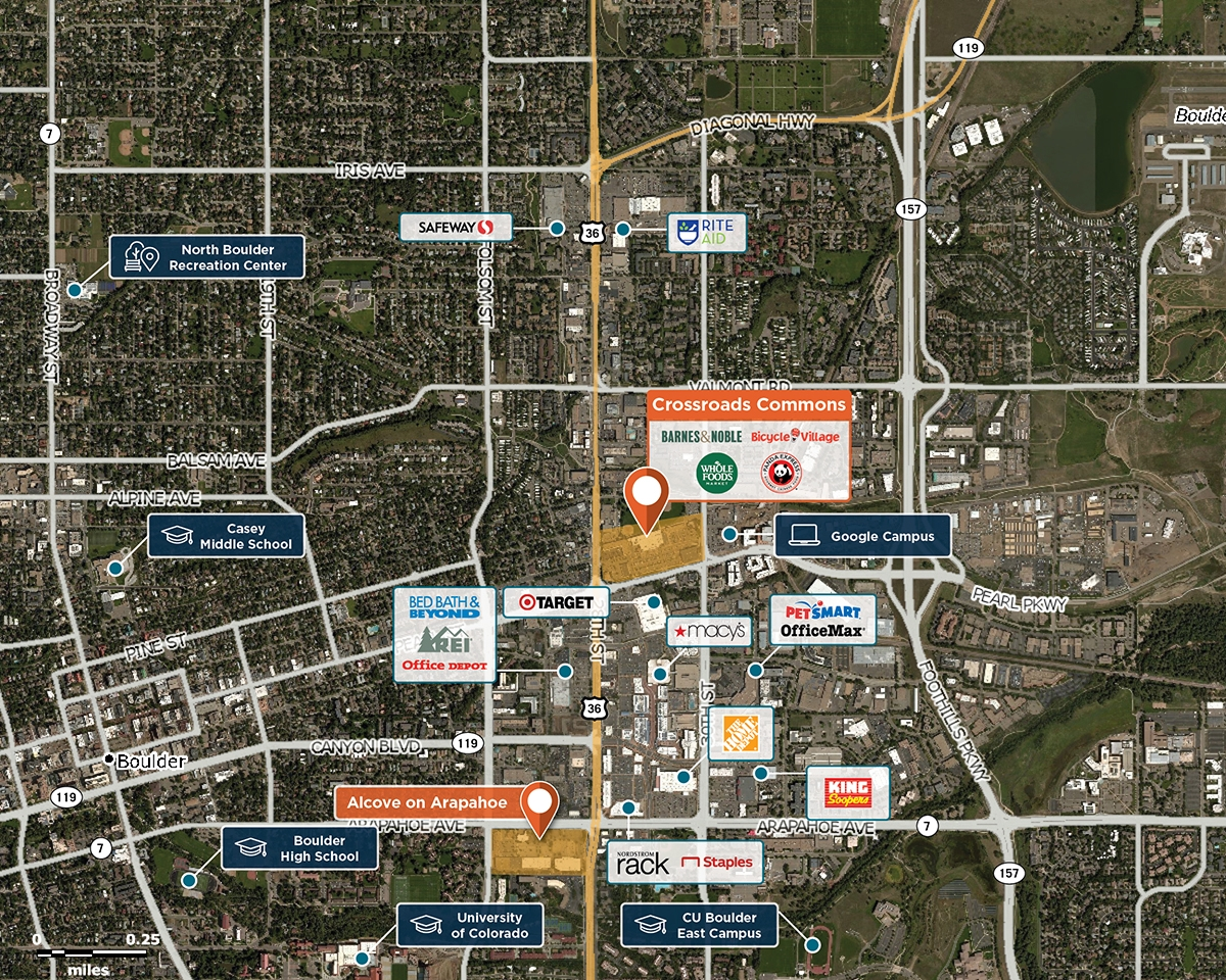 Crossroads Commons Trade Area Map for Boulder, CO 80301