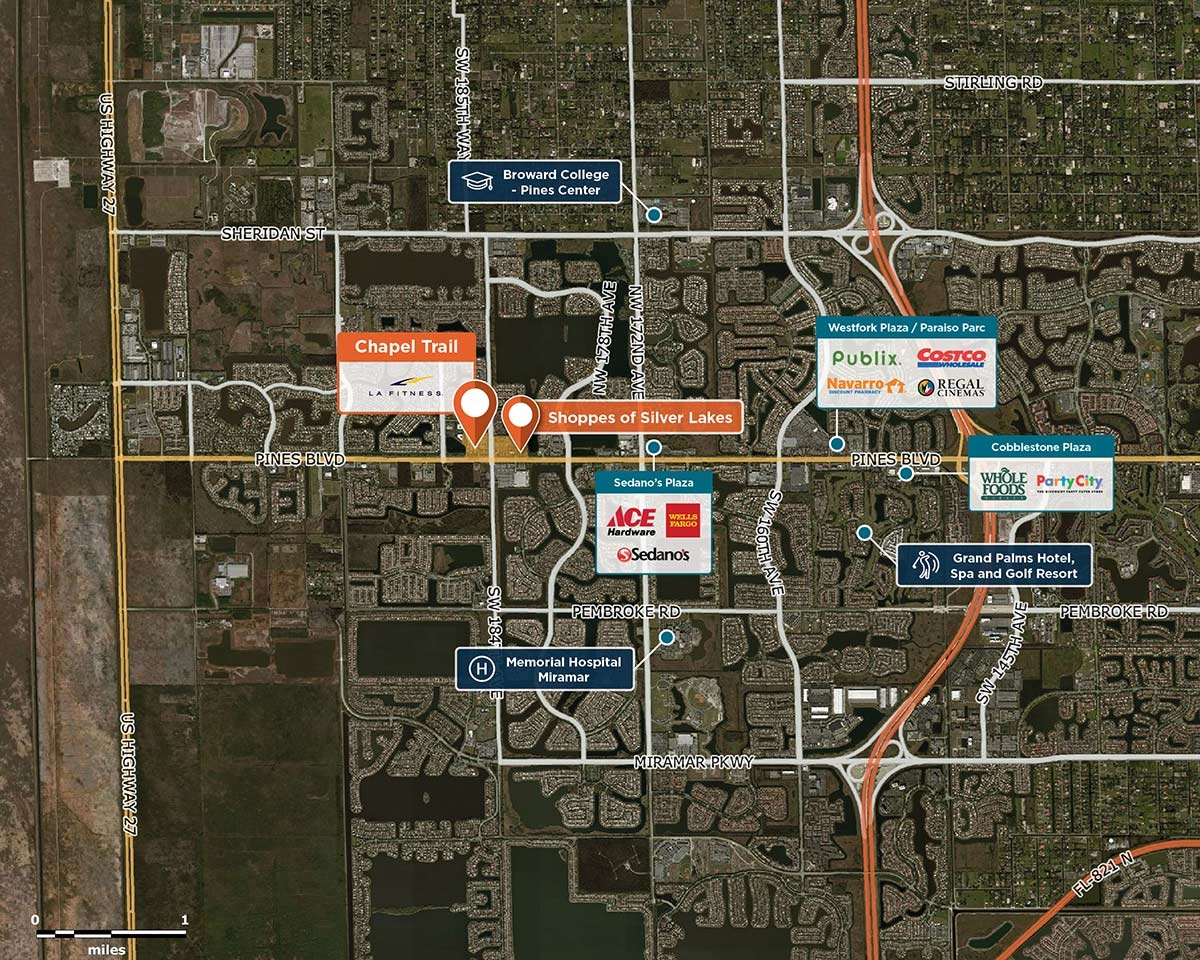 Chapel Trail Plaza Trade Area Map for Pembroke Pines, FL 33029