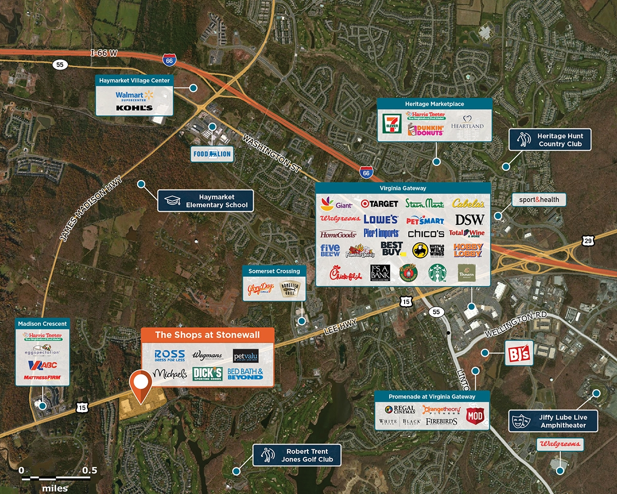 The Shops at Stonewall Trade Area Map for Gainesville, VA 20155