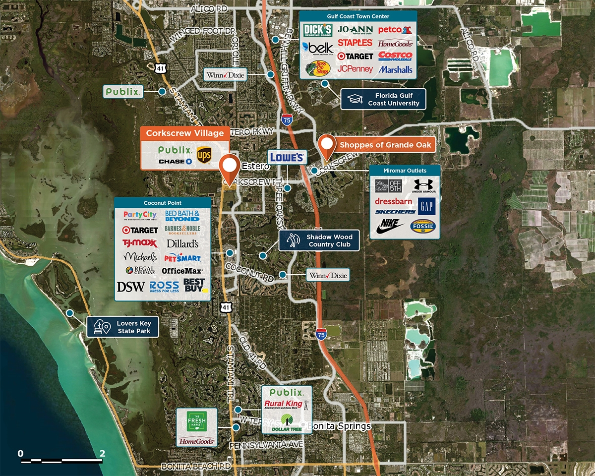 Corkscrew Village Trade Area Map for Estero, FL 33928