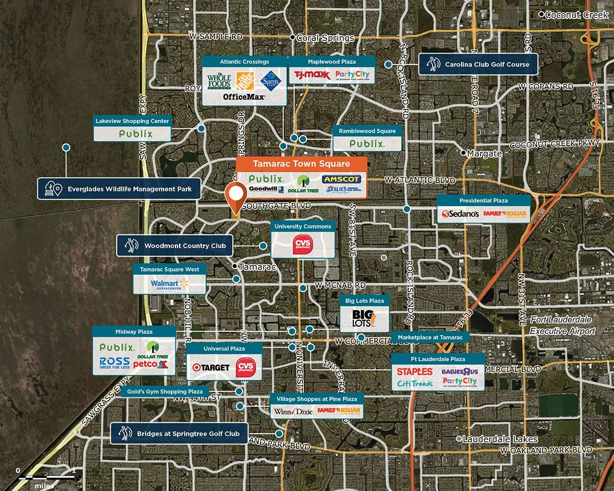 Tamarac Town Square Trade Area Map for Tamarac, FL 33321