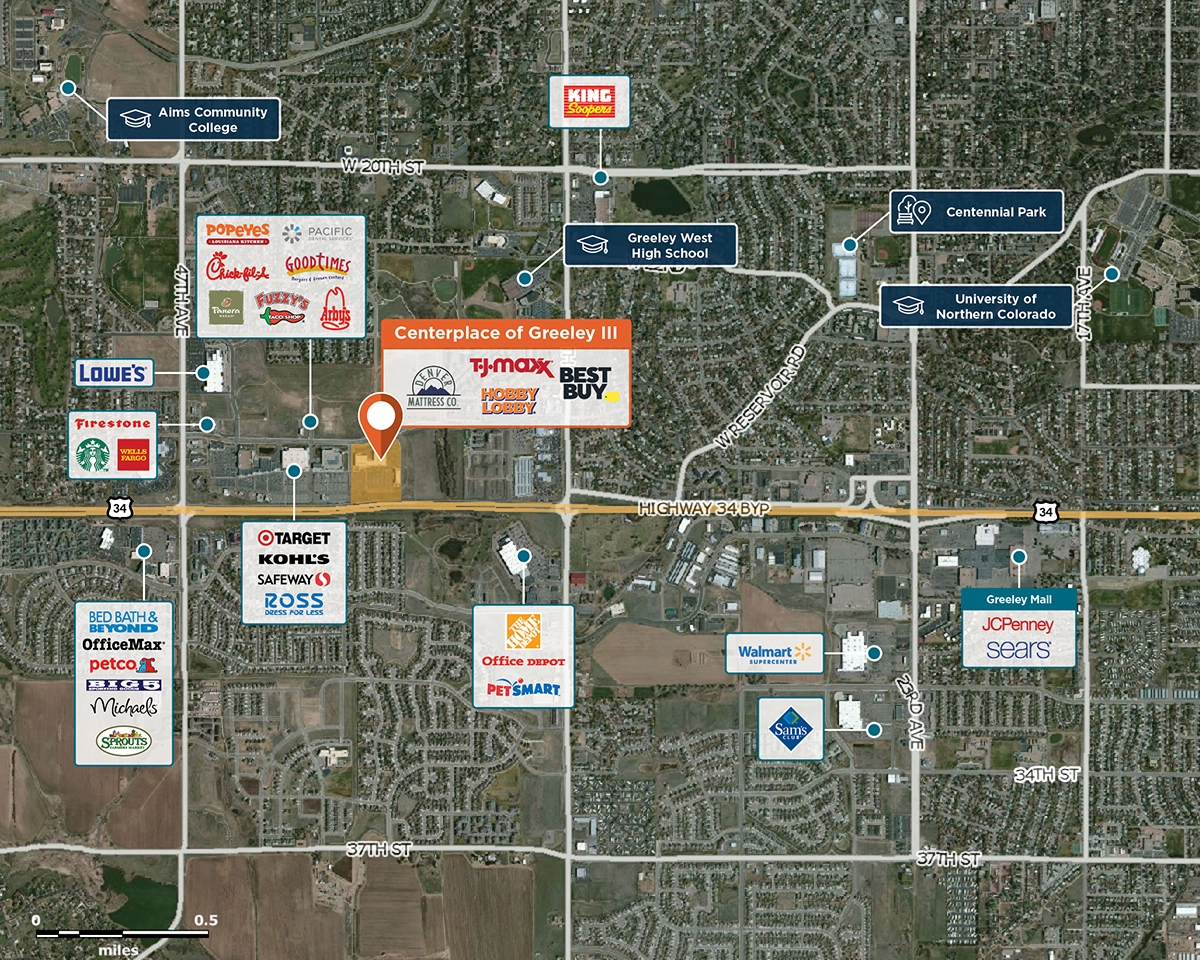 Centerplace of Greeley III Trade Area Map for Greeley, CO 80634