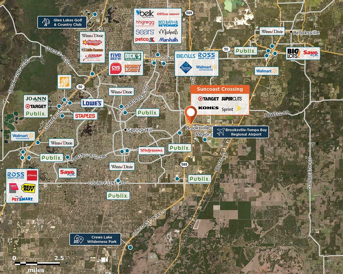Suncoast Crossing Trade Area Map for Spring Hill, FL 34608