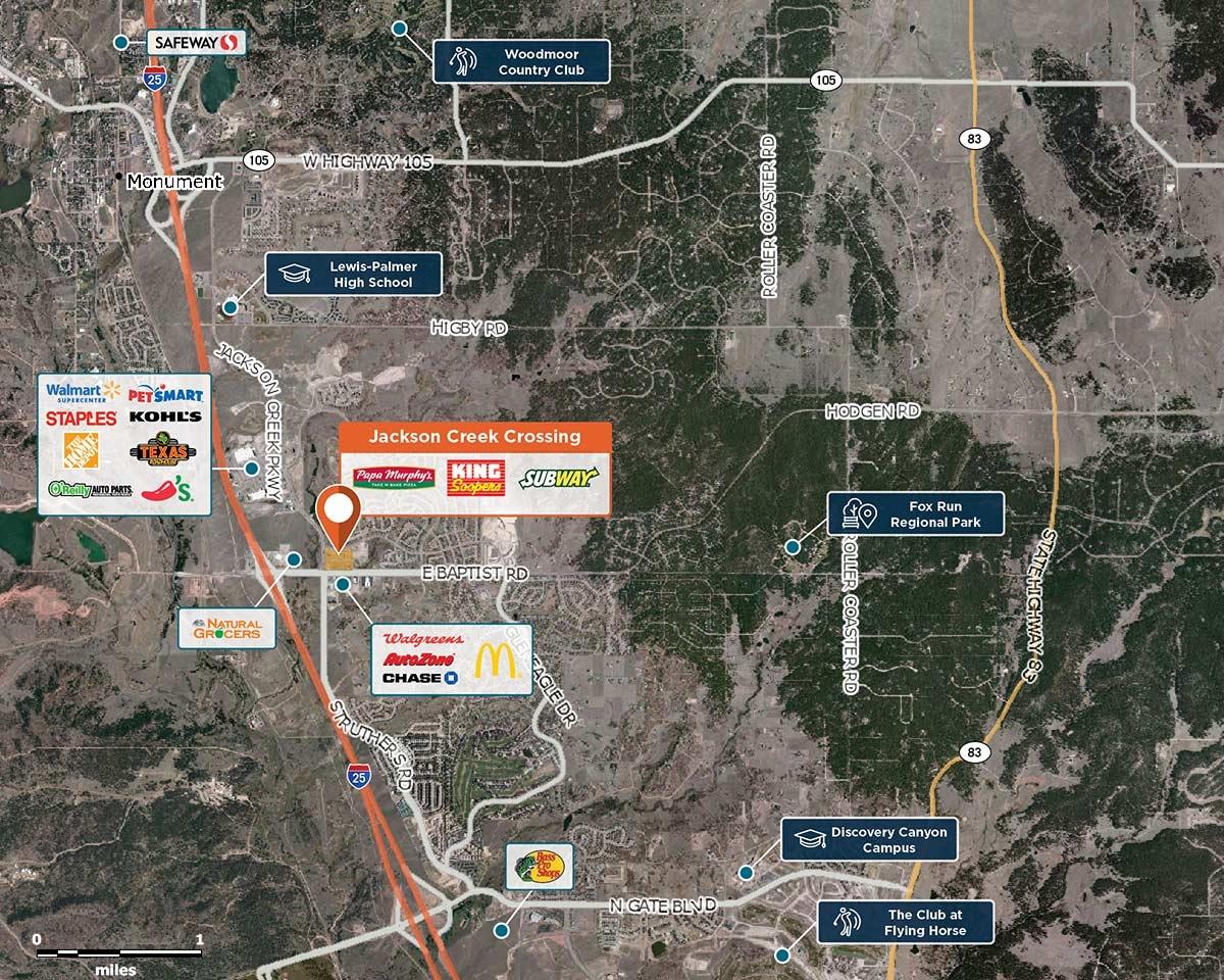 Jackson Creek Crossing Trade Area Map for Colorado Springs, CO   80921