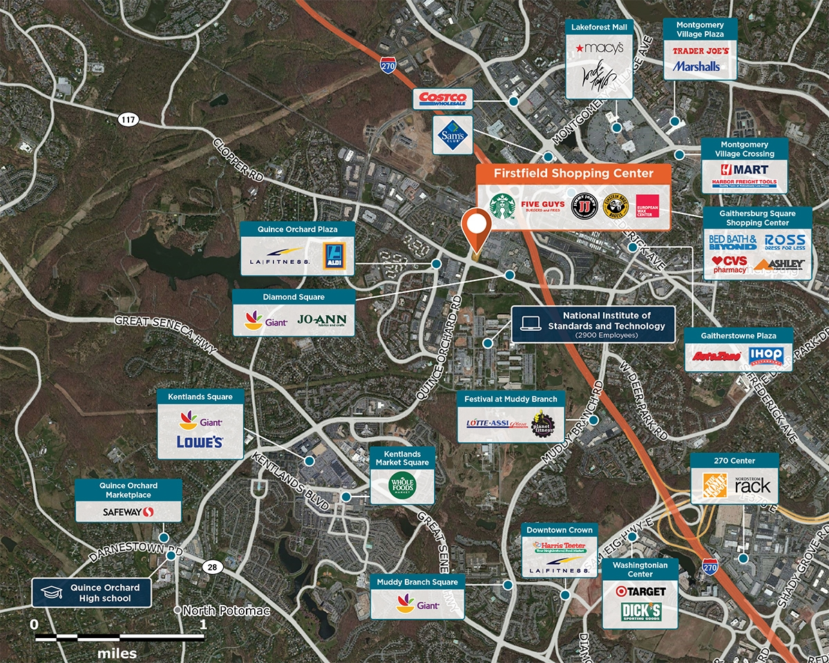 Firstfield Shopping Center Trade Area Map for Gaithersburg, MD 20878