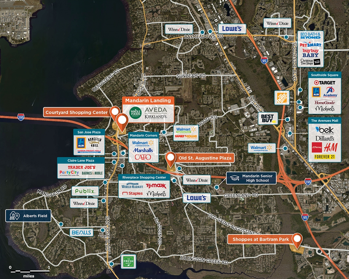 Mandarin Landing Trade Area Map for Jacksonville, FL 32257
