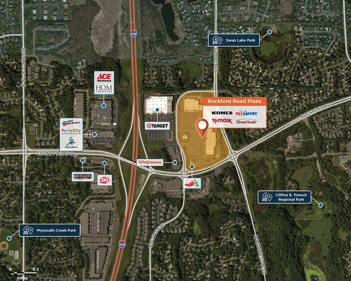 Rockford Road Plaza Trade Area Map for Plymouth, MN 55442