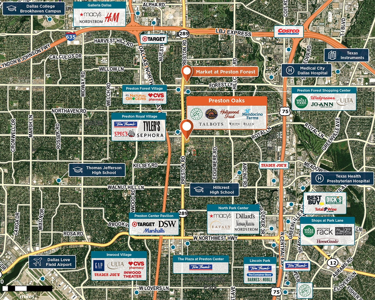 Preston Oaks Trade Area Map for Dallas, TX 75230