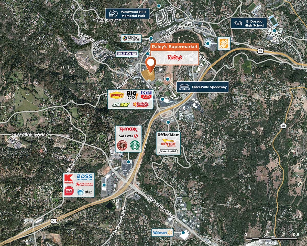 Raley's Supermarket Trade Area Map for Placerville, CA 95667