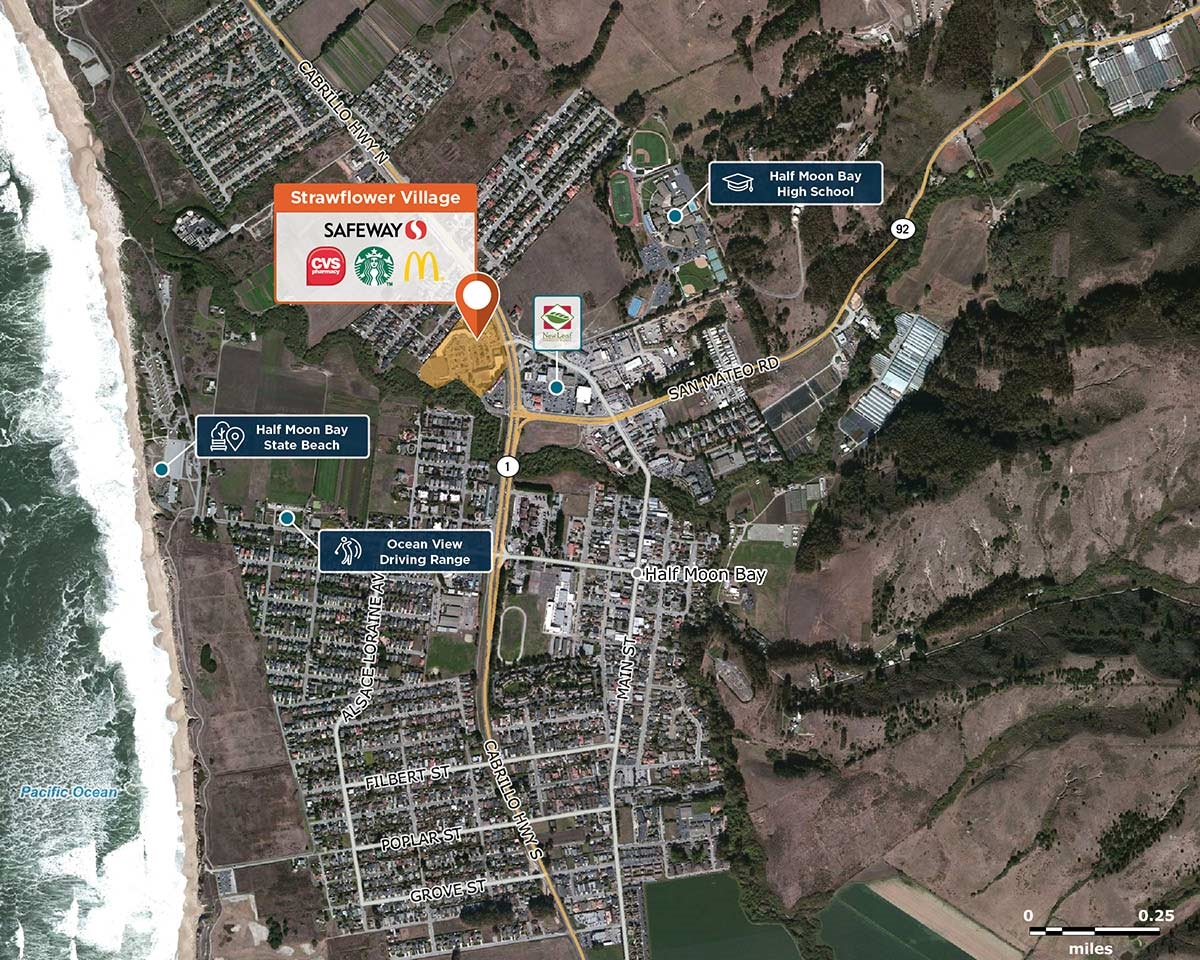 Strawflower Village Trade Area Map for Half Moon Bay, Ca  94019