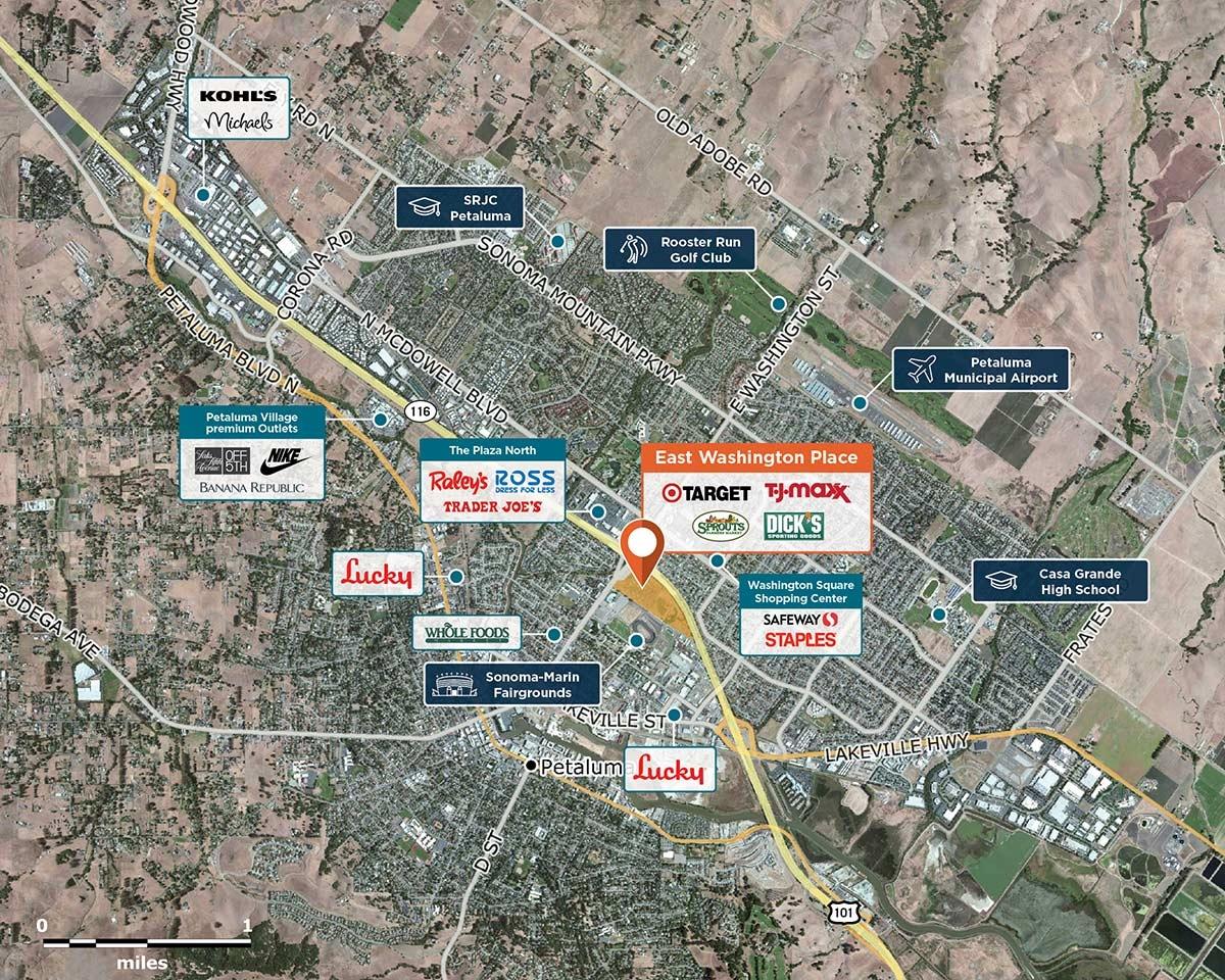 East Washington Place Trade Area Map for Petaluma, CA 94952