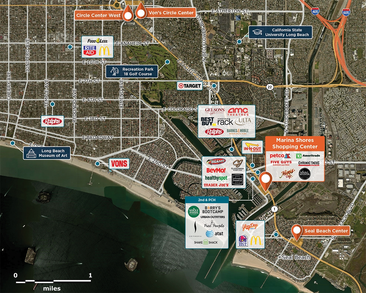 Marina Shores Trade Area Map for Long Beach, CA 90803