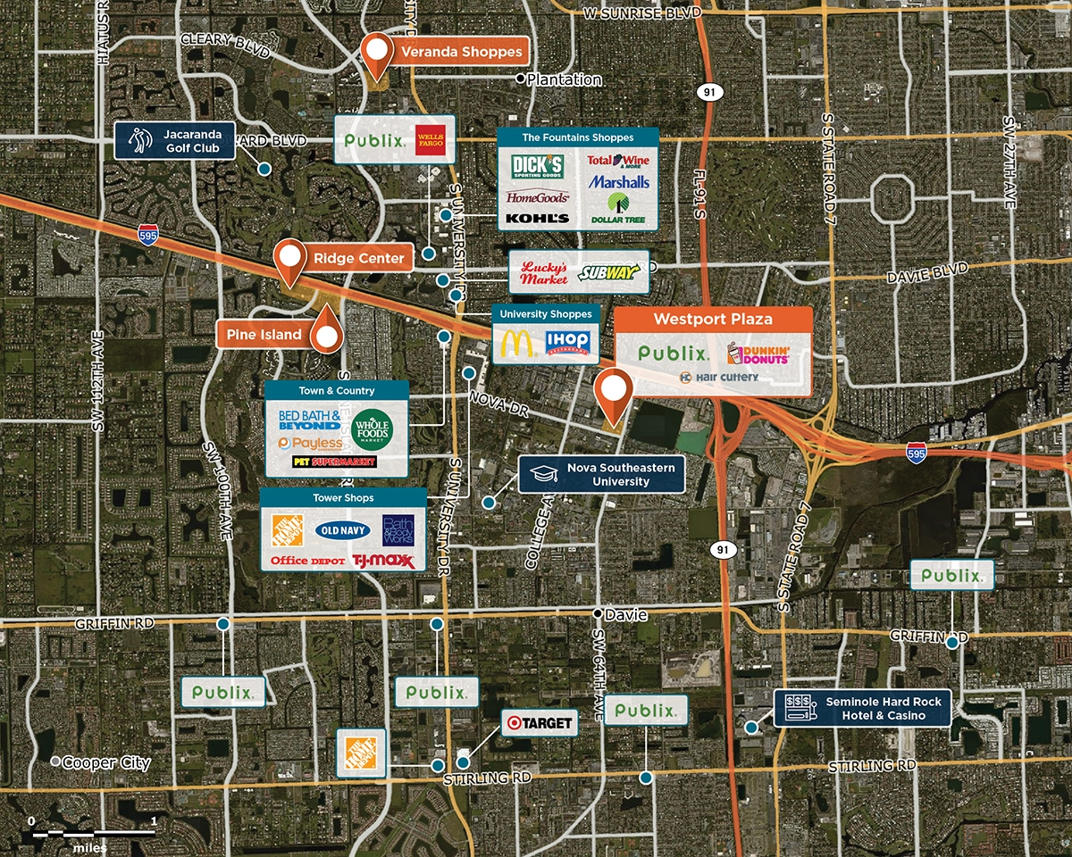 Westport Plaza Trade Area Map for Davie, FL 33317