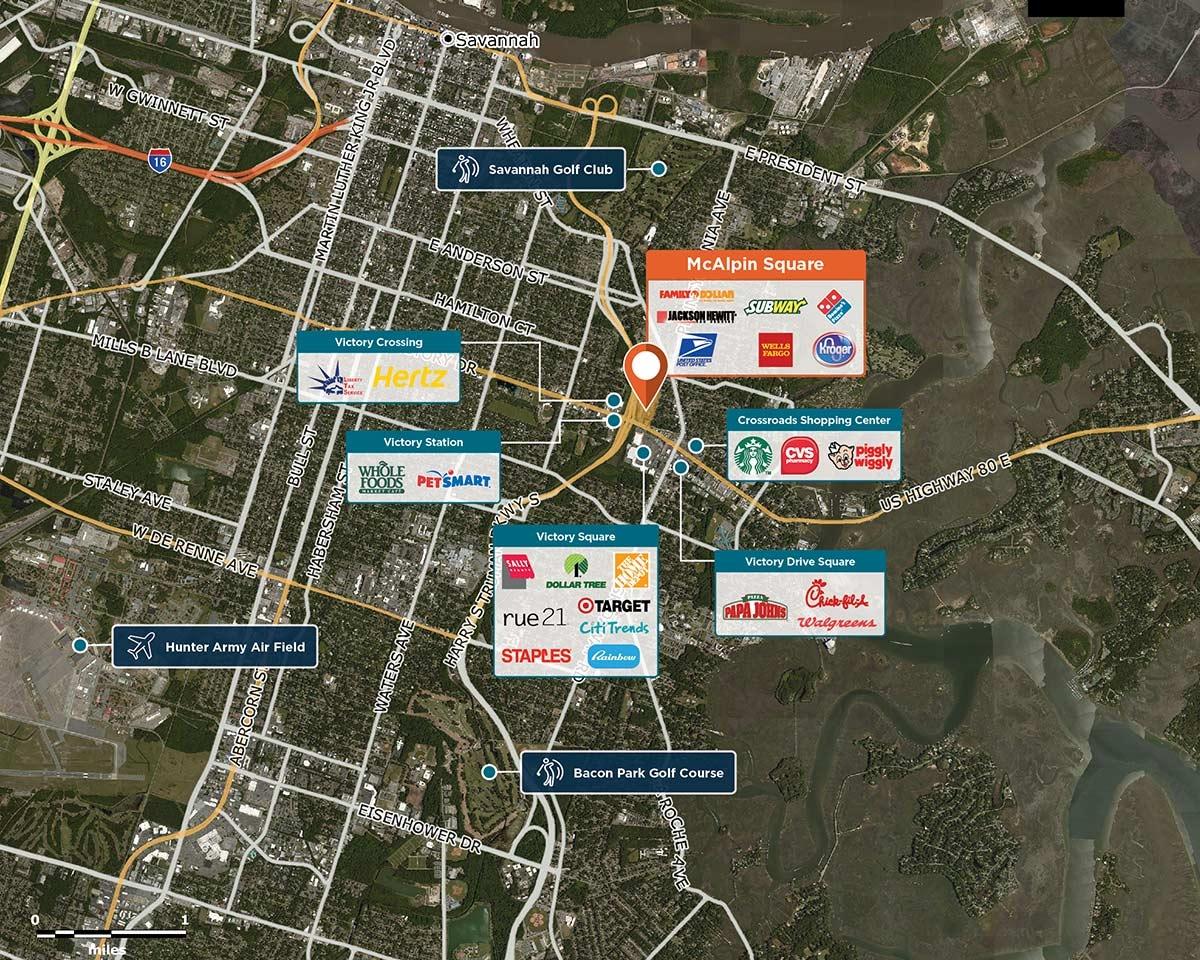 McAlpin Square Trade Area Map for Savannah, GA 31404