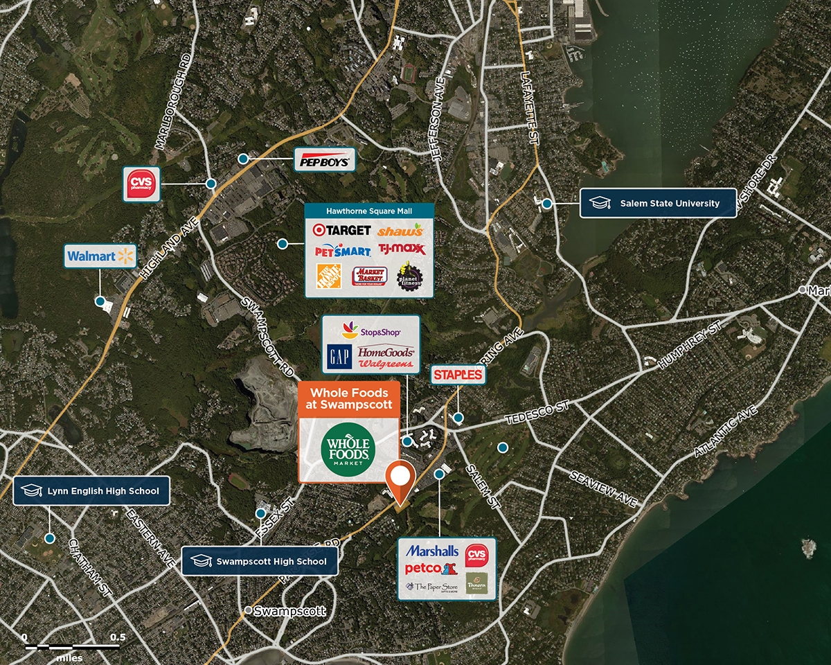 Whole Foods at Swampscott Trade Area Map for Swampscott, MA 01907