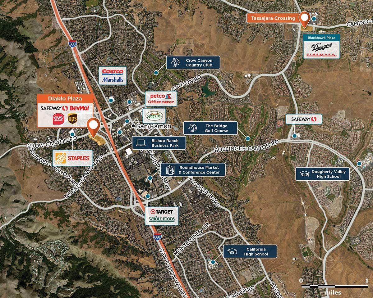 Diablo Plaza Trade Area Map for San Ramon, CA 94583