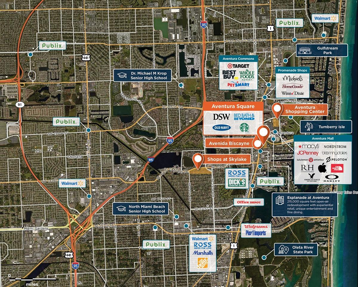 Aventura Square Trade Area Map for Aventura, FL 33180