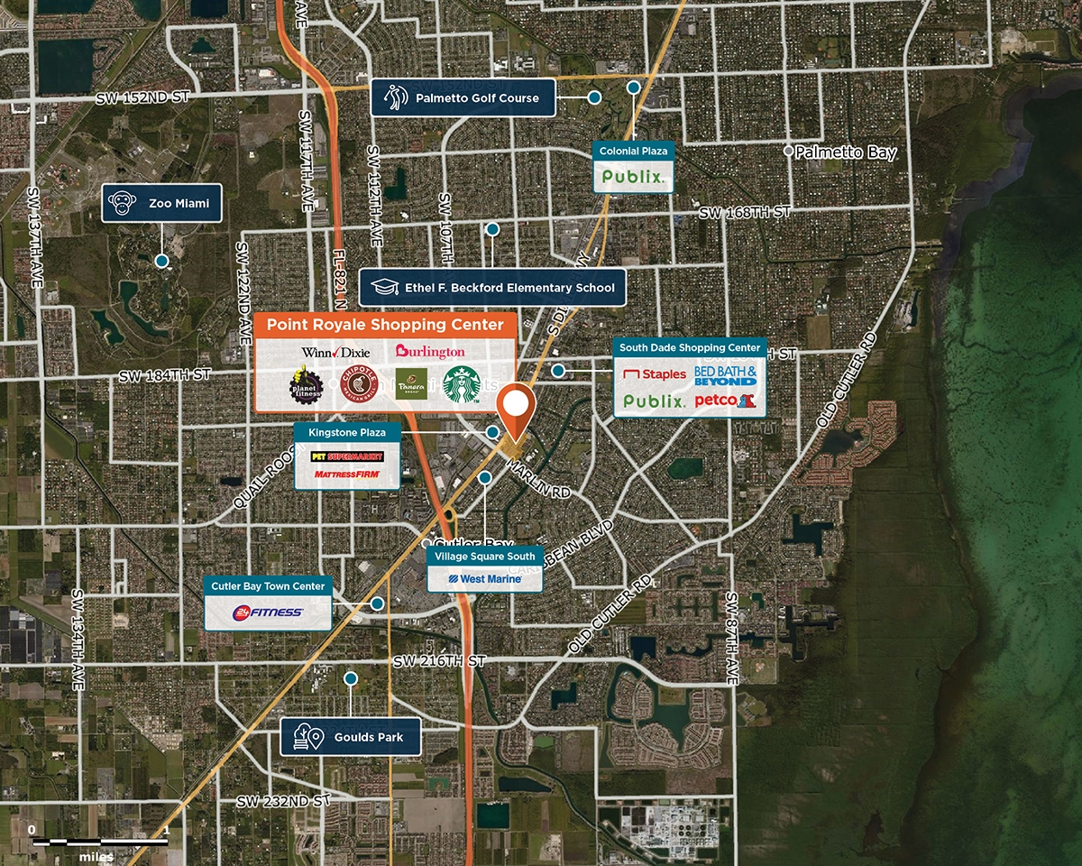 Point Royale Shopping Center Trade Area Map for Miami, FL 33157