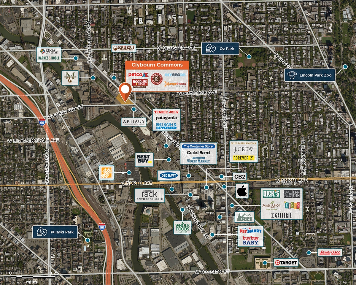Clybourn Commons Trade Area Map for Chicago, IL 60614