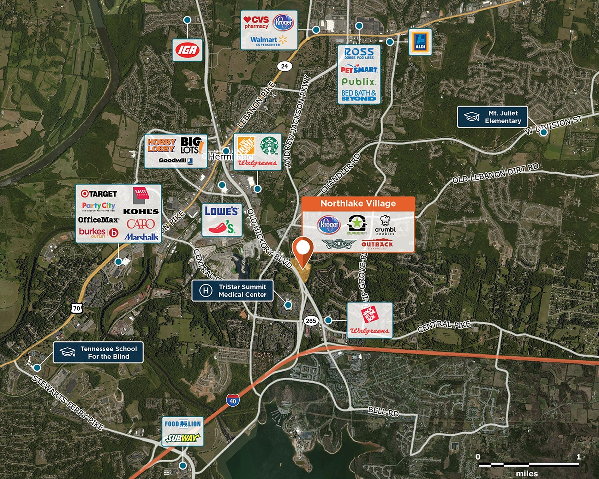 Northlake Village Trade Area Map for Hermitage, TN  37076