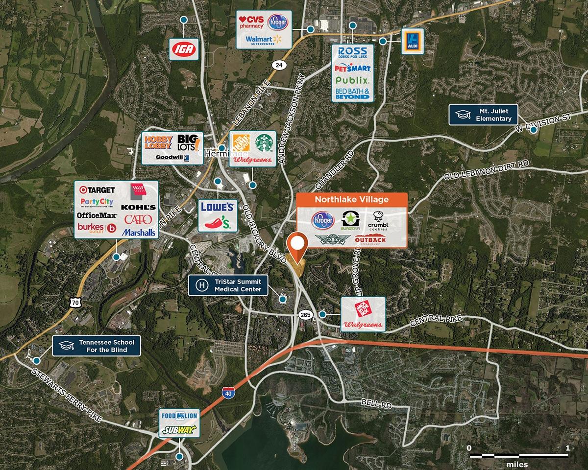 Northlake Village Trade Area Map for Hermitage, TN 37076
