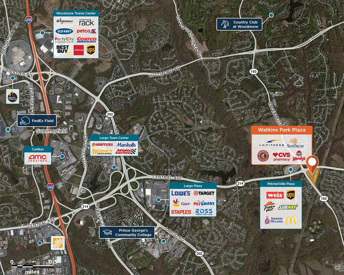 Watkins Park Plaza Trade Area Map for Mitchellville, MD 20774