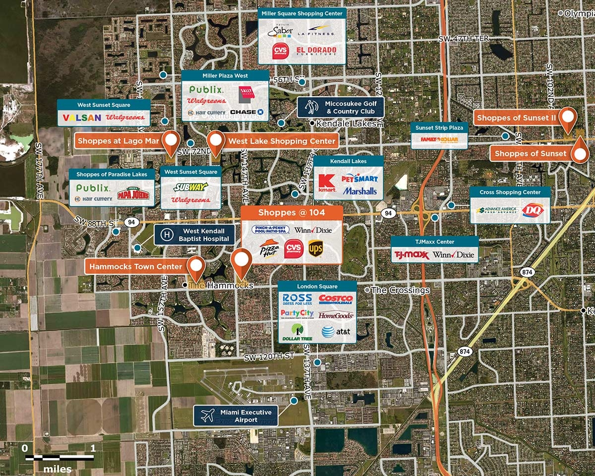 Shoppes @ 104 Trade Area Map for Miami, FL 33186