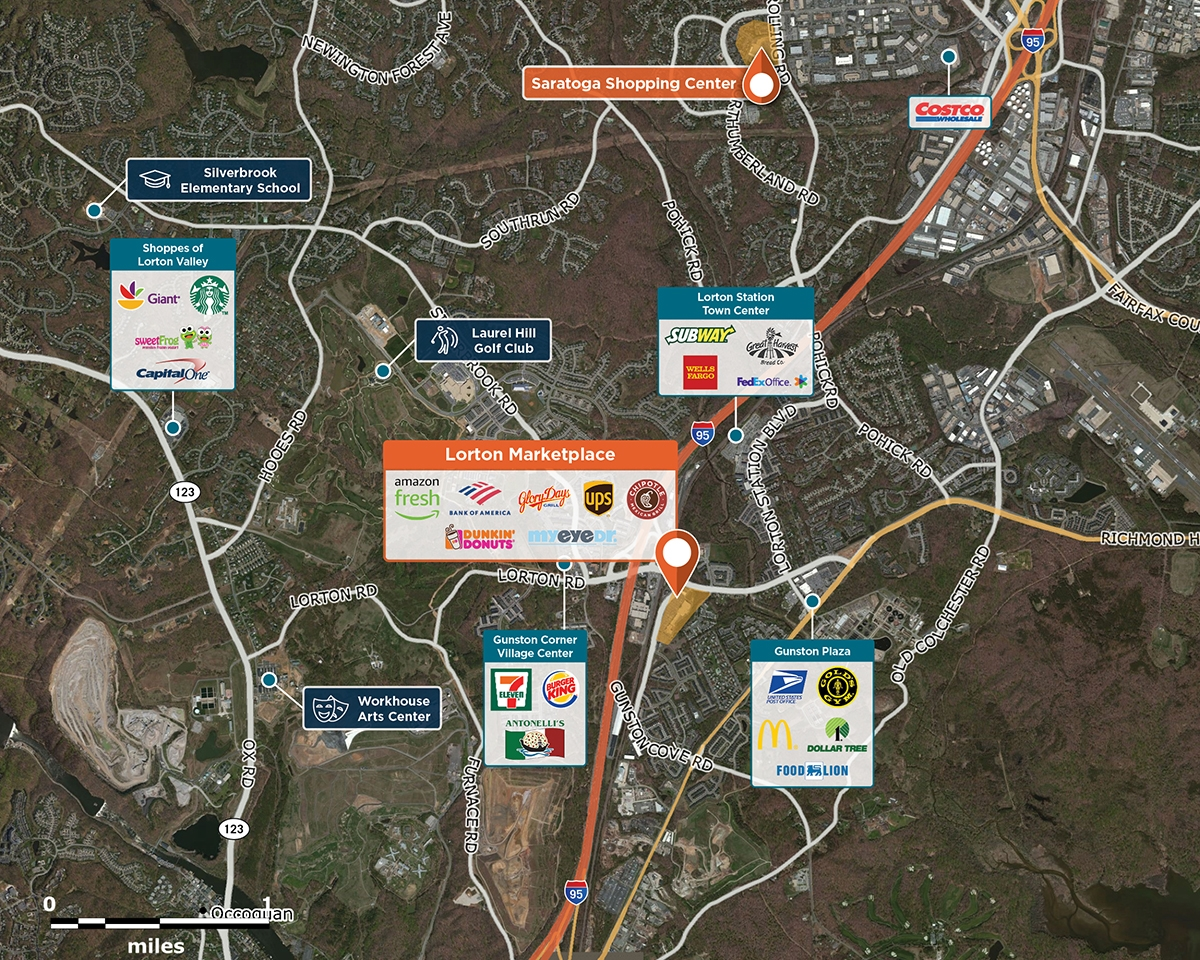 Lorton Marketplace Trade Area Map for Lorton, VA 22079