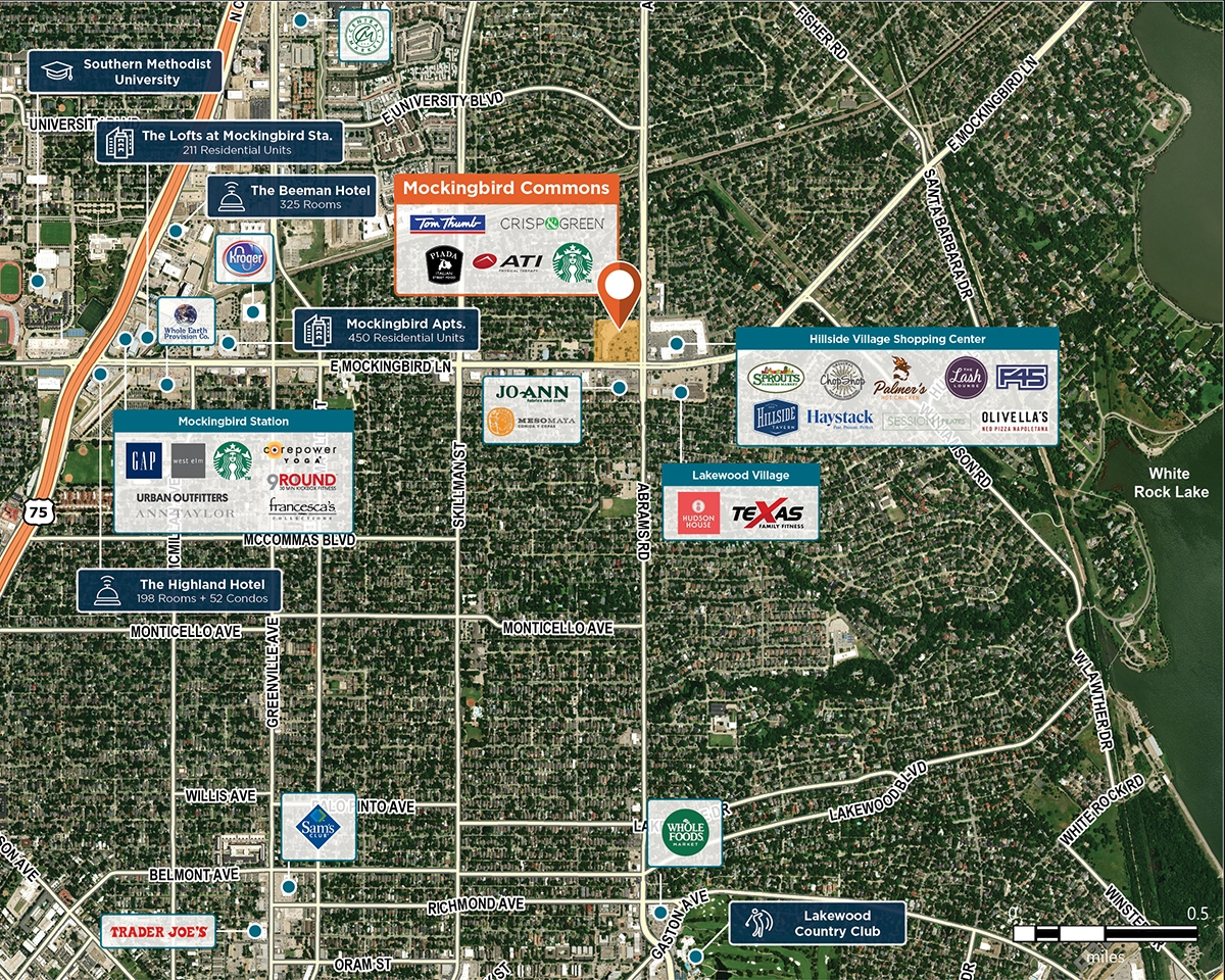 Mockingbird Commons Trade Area Map for Dallas, TX 75214