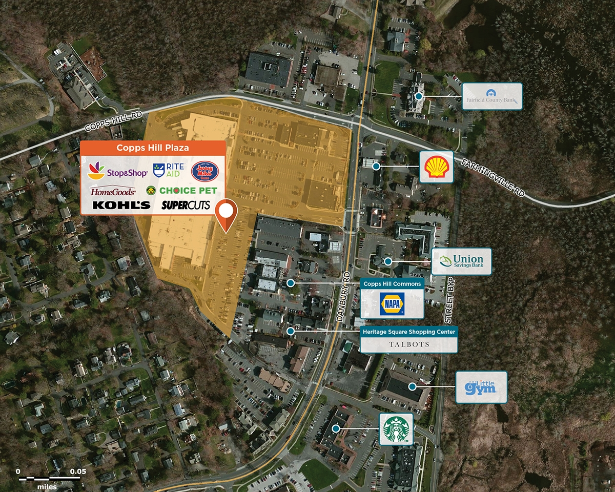 Copps Hill Plaza Trade Area Map for Ridgefield, CT 06877