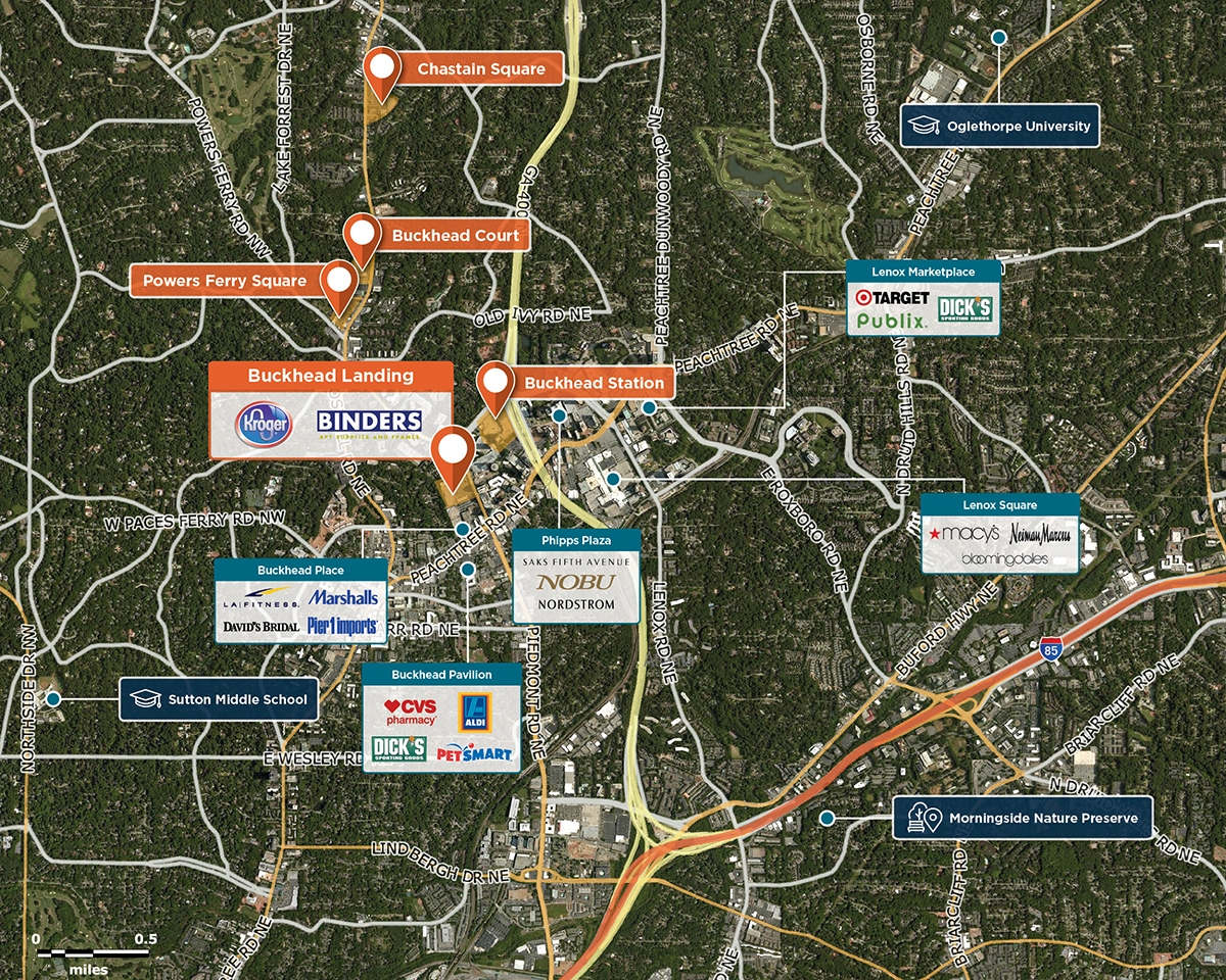 Piedmont Peachtree Crossing Trade Area Map for Atlanta, GA 30305