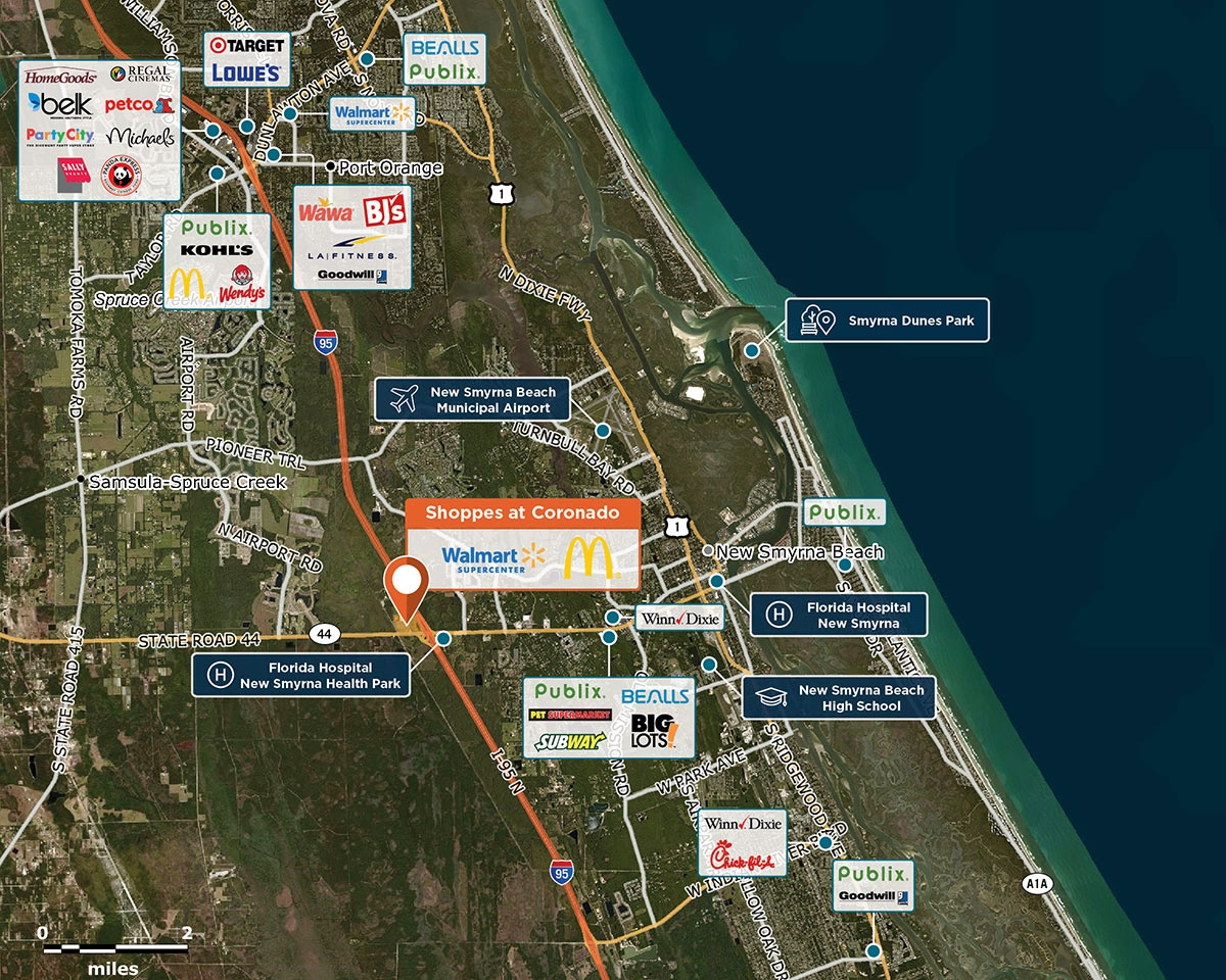 Shoppes at Coronado Trade Area Map for New Smyrna Beach, FL 32168