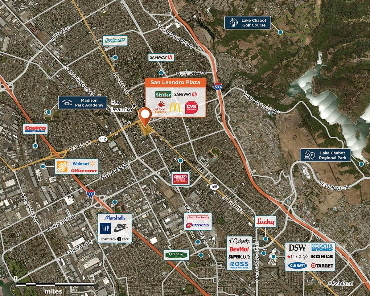 San Leandro Plaza Trade Area Map for San Leandro, CA 94577