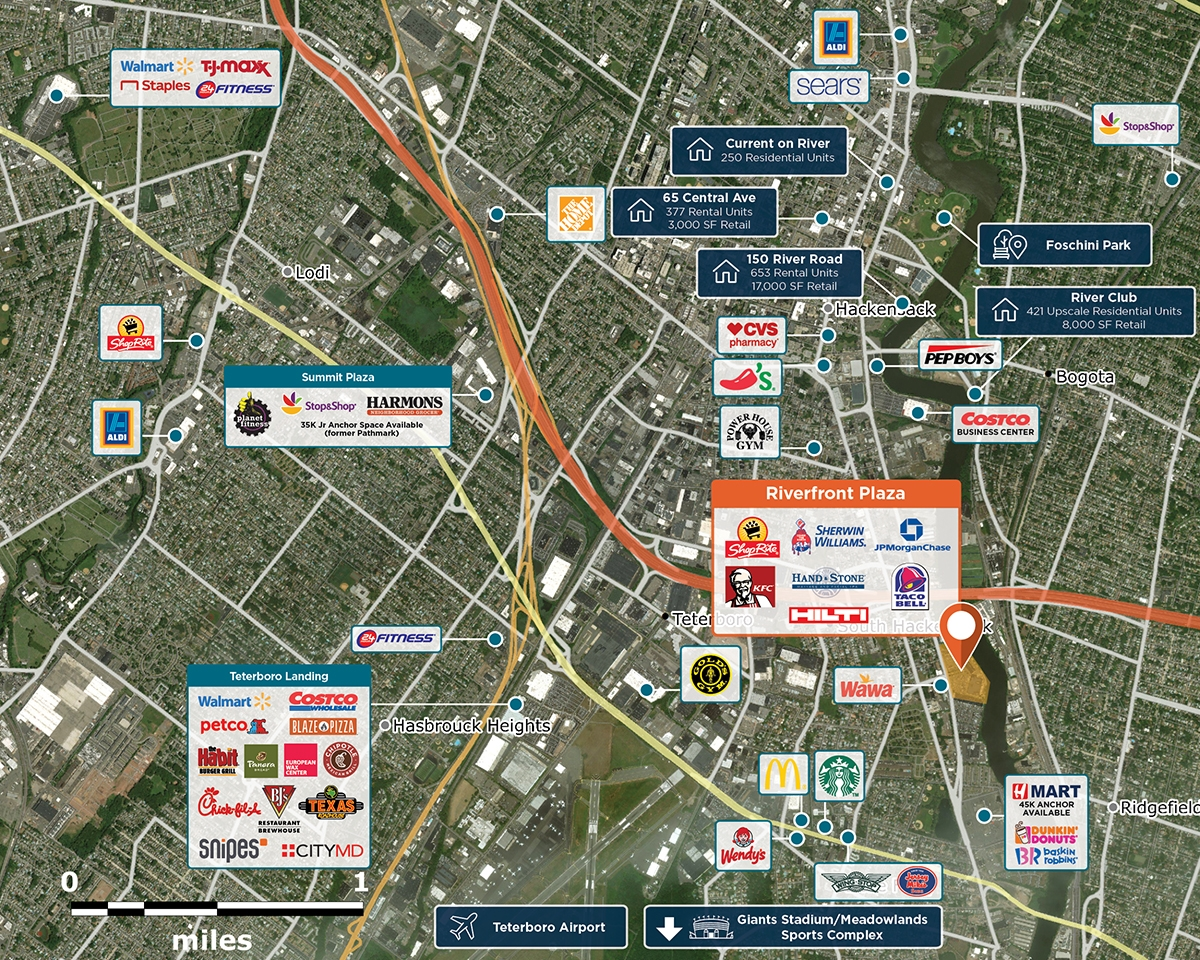 Riverfront Plaza Trade Area Map for Hackensack, NJ 07601