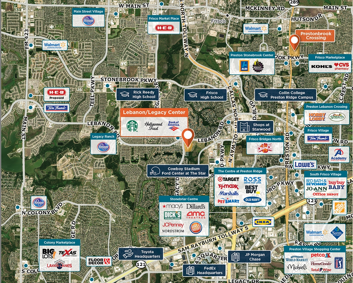 Lebanon/Legacy Center Trade Area Map for Frisco, TX 75034