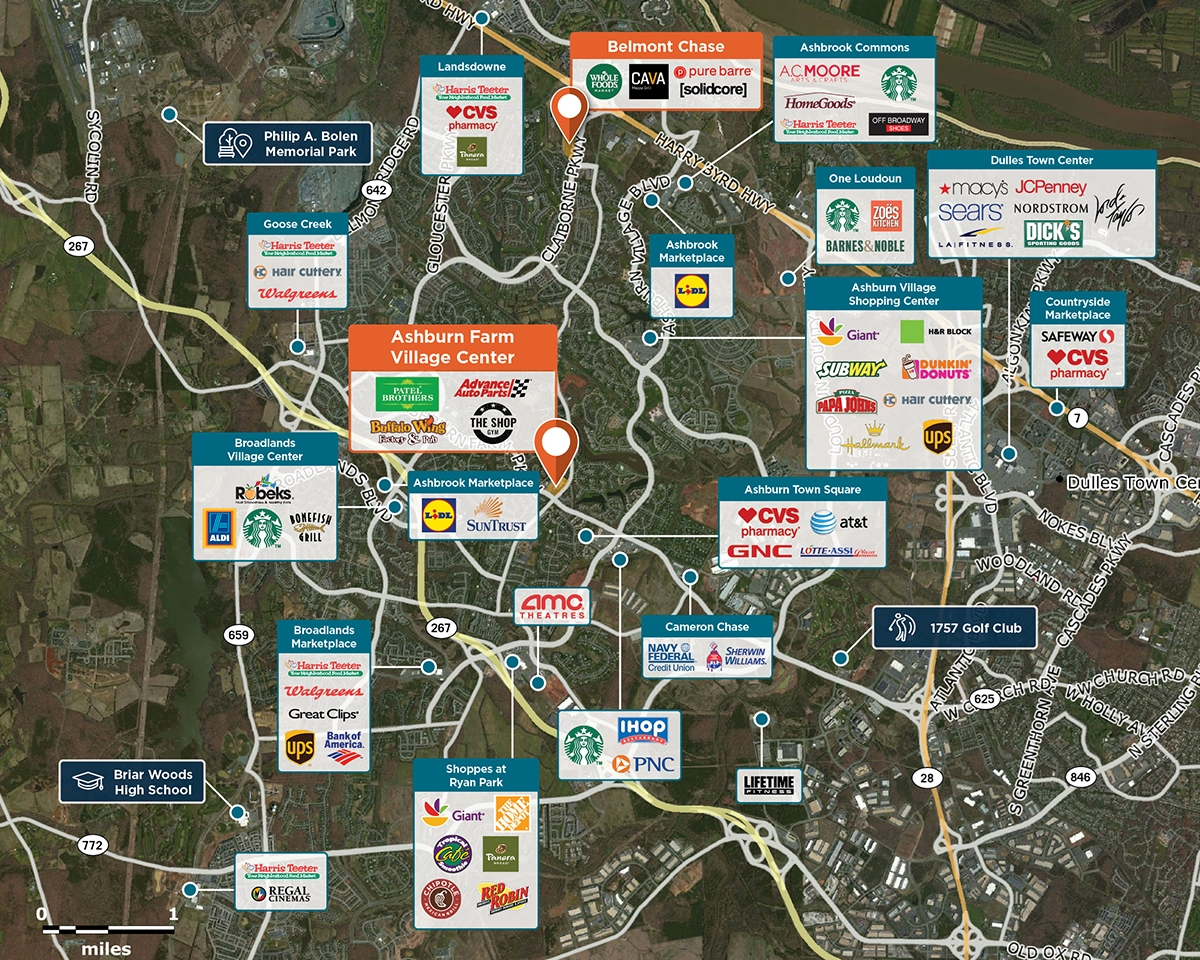 Ashburn Farm Village Center Trade Area Map for Ashburn, VA 20147