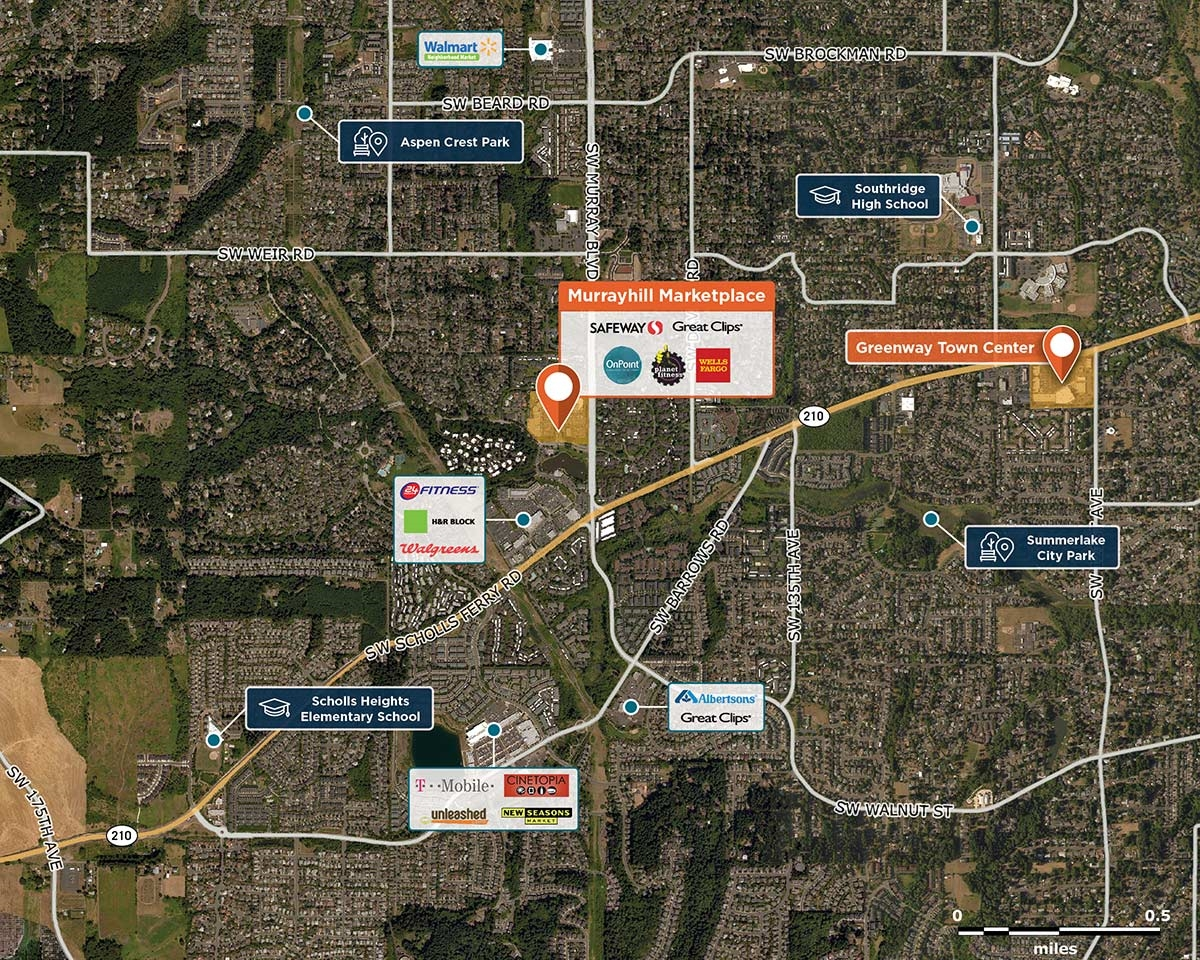 Murrayhill Marketplace Trade Area Map for Beaverton, OR 97007