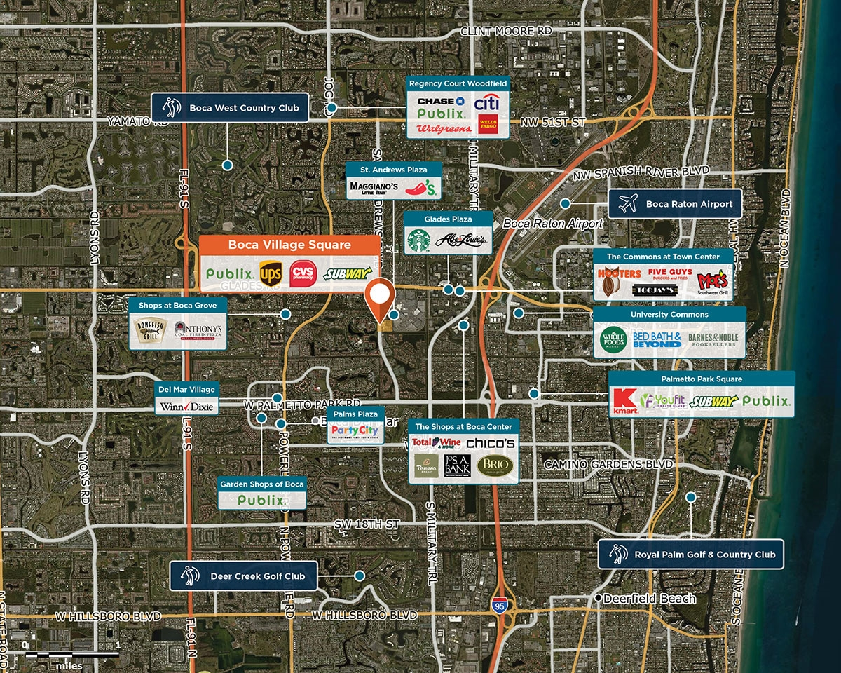 Boca Village Square Trade Area Map for Boca Raton, FL 33433
