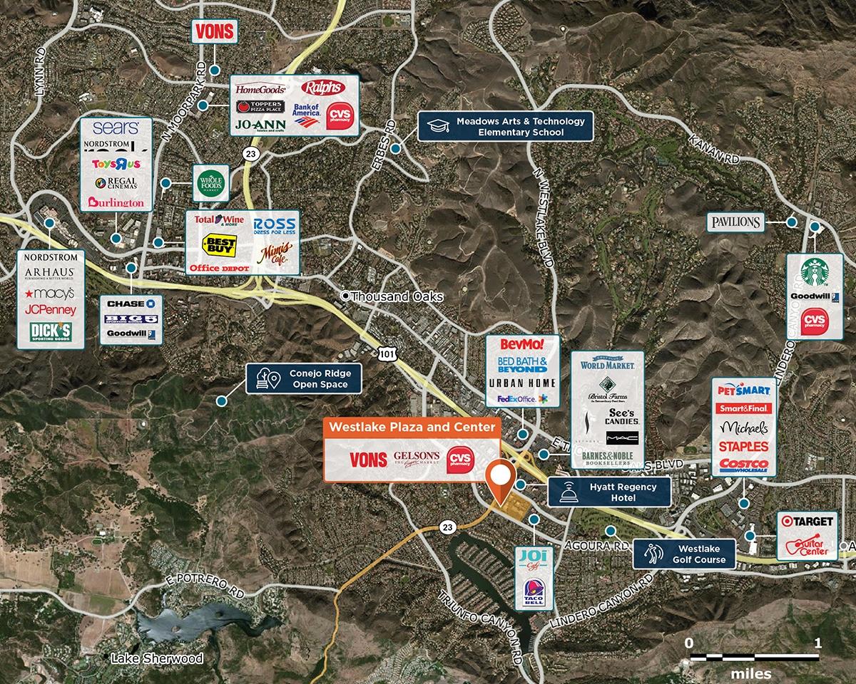 Westlake Plaza and Center Trade Area Map for Westlake Village, CA 91361