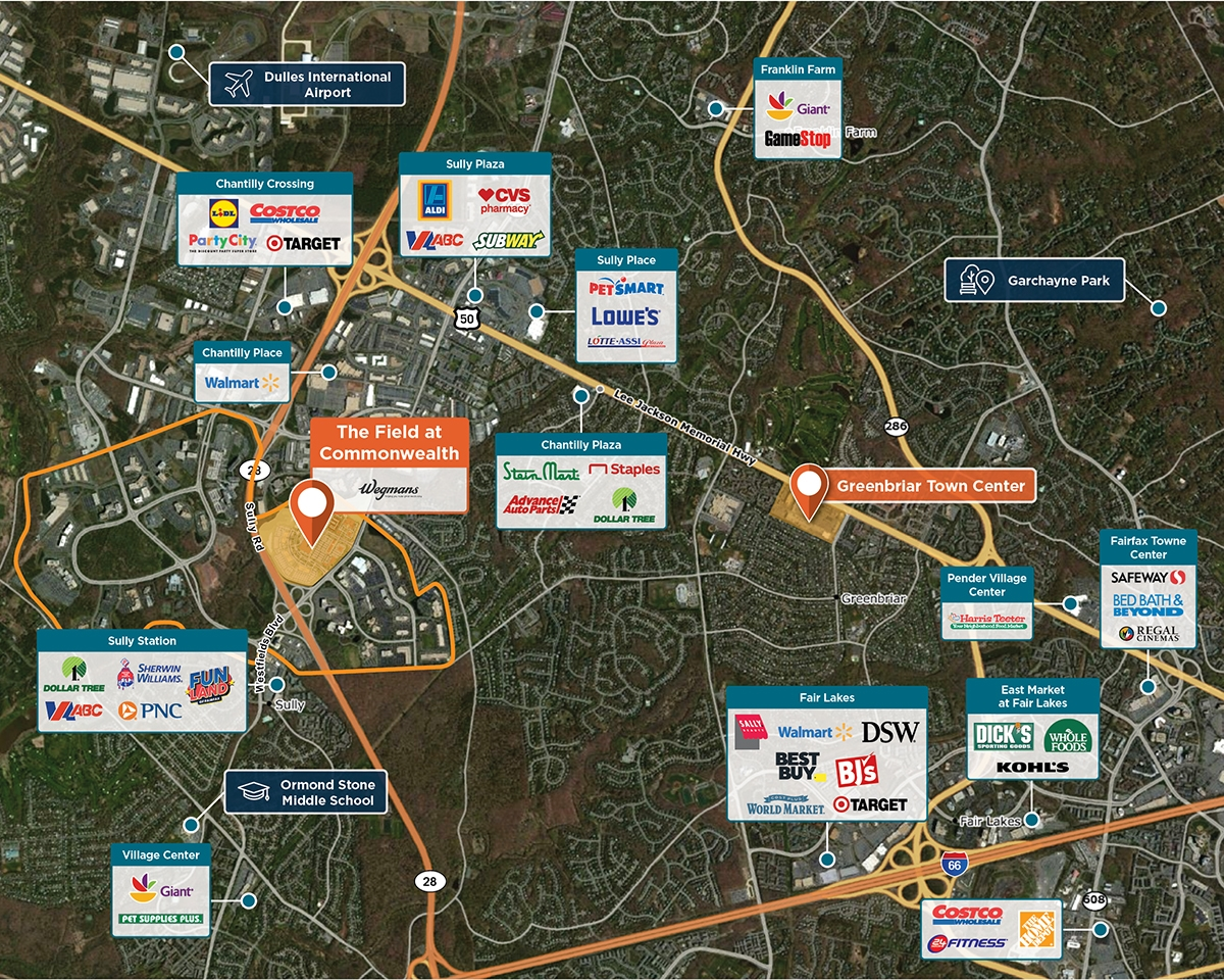 The Field at Commonwealth Trade Area Map for Chantilly, VA 20151