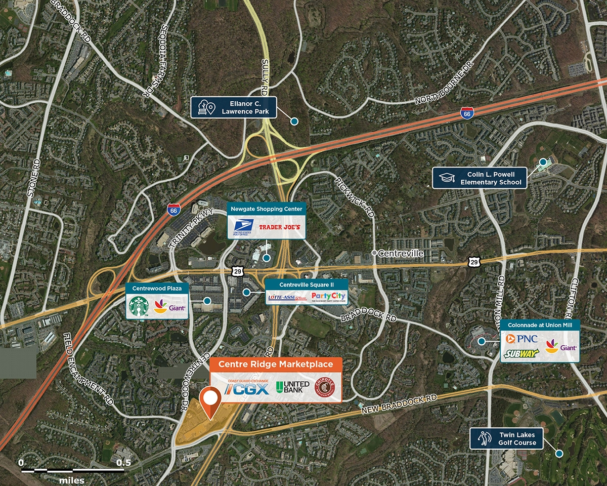 Centre Ridge Marketplace Trade Area Map for Centreville, VA 20121