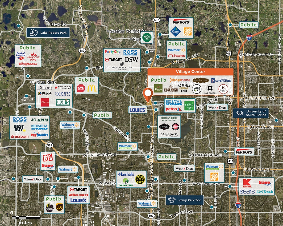 Village Center Trade Area Map for Tampa, FL 33618