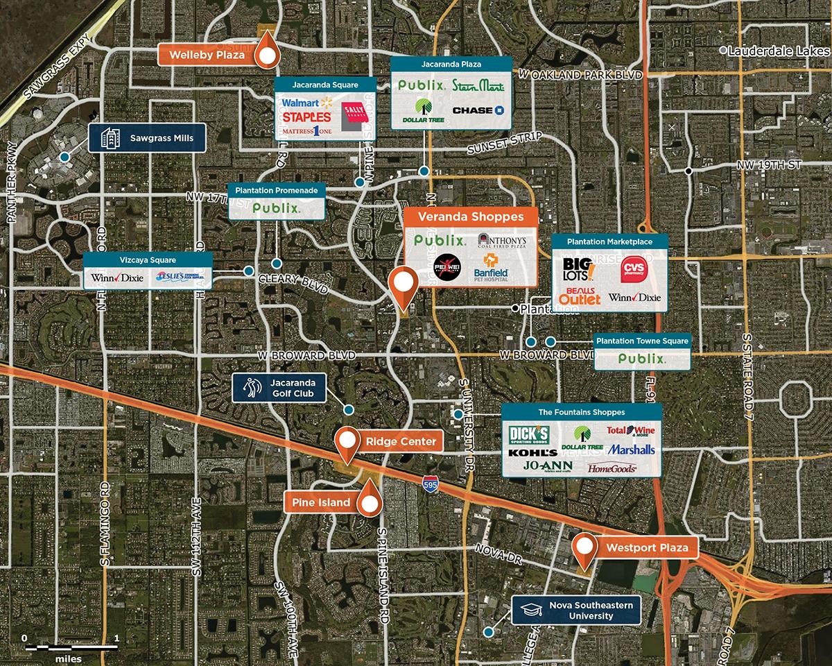 Veranda Shoppes Trade Area Map for Plantation, FL 33324
