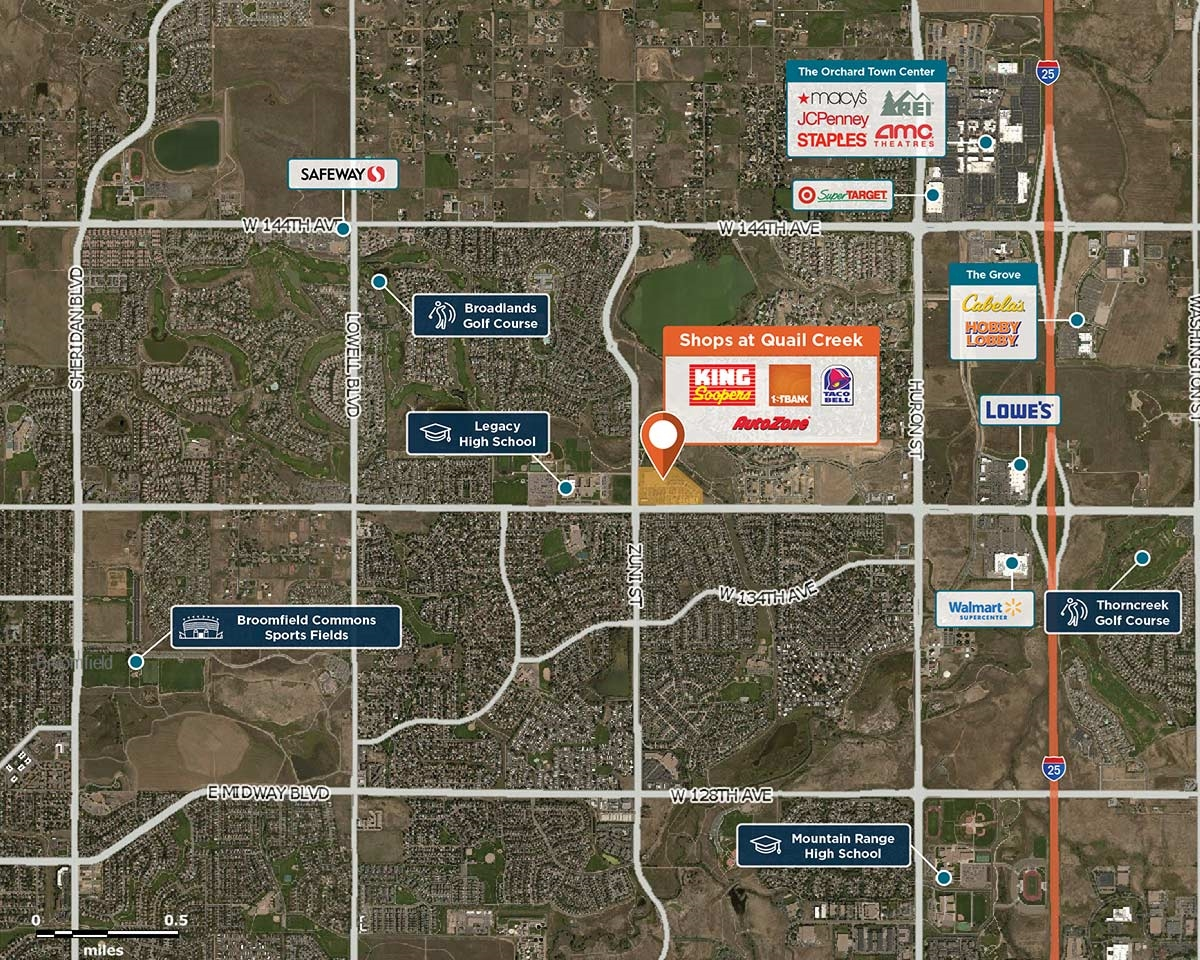 Shops at Quail Creek Trade Area Map for Broomfield, CO 80023