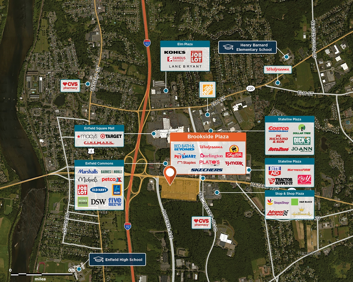 Brookside Plaza Trade Area Map for Enfield, CT 06082