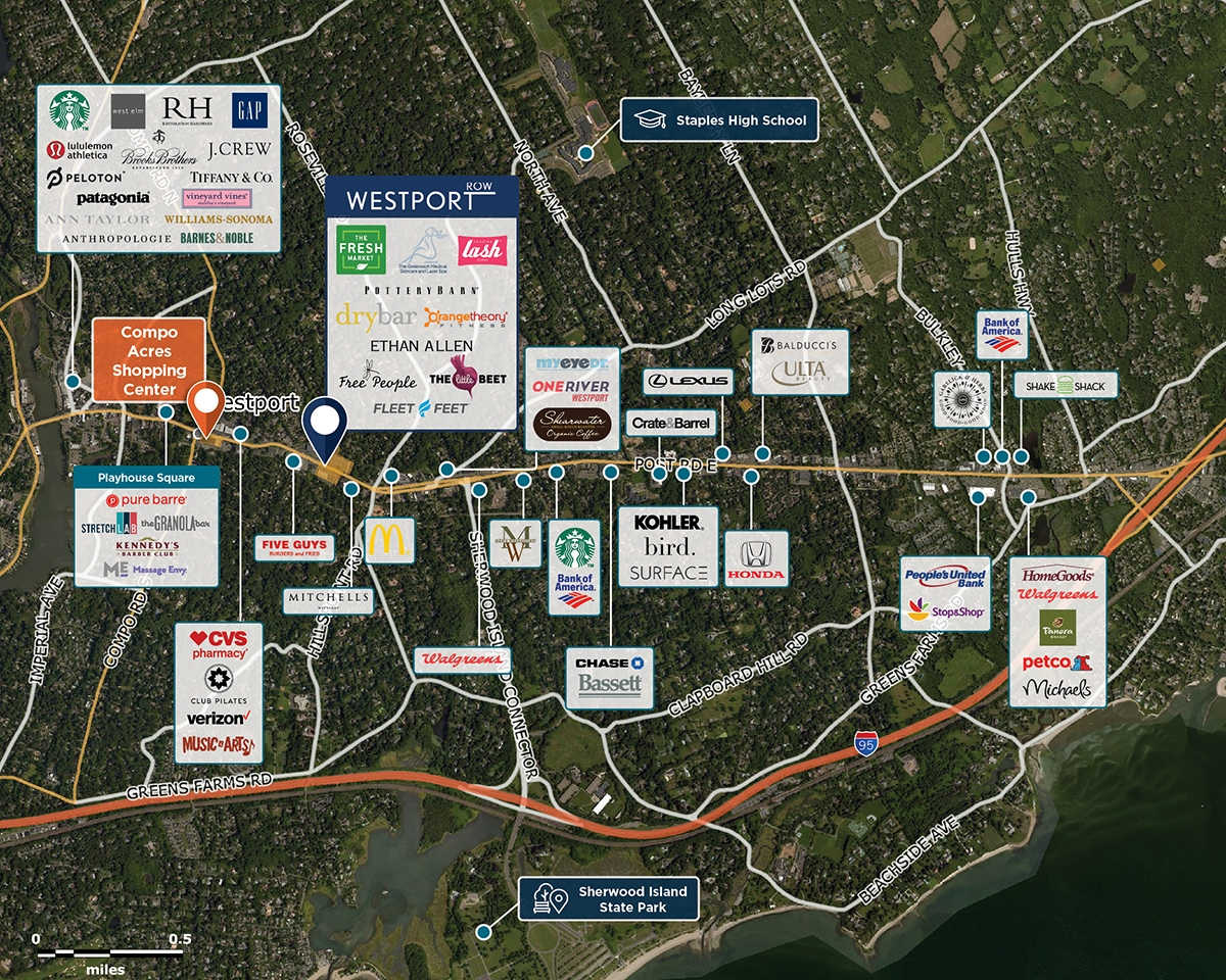The Village Center Trade Area Map for Westport, CT 06880