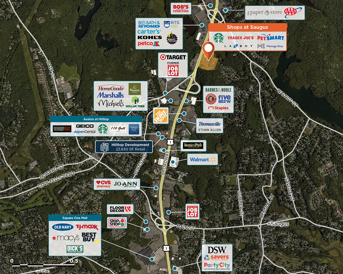 Shops at Saugus Trade Area Map for Saugus, MA 01906