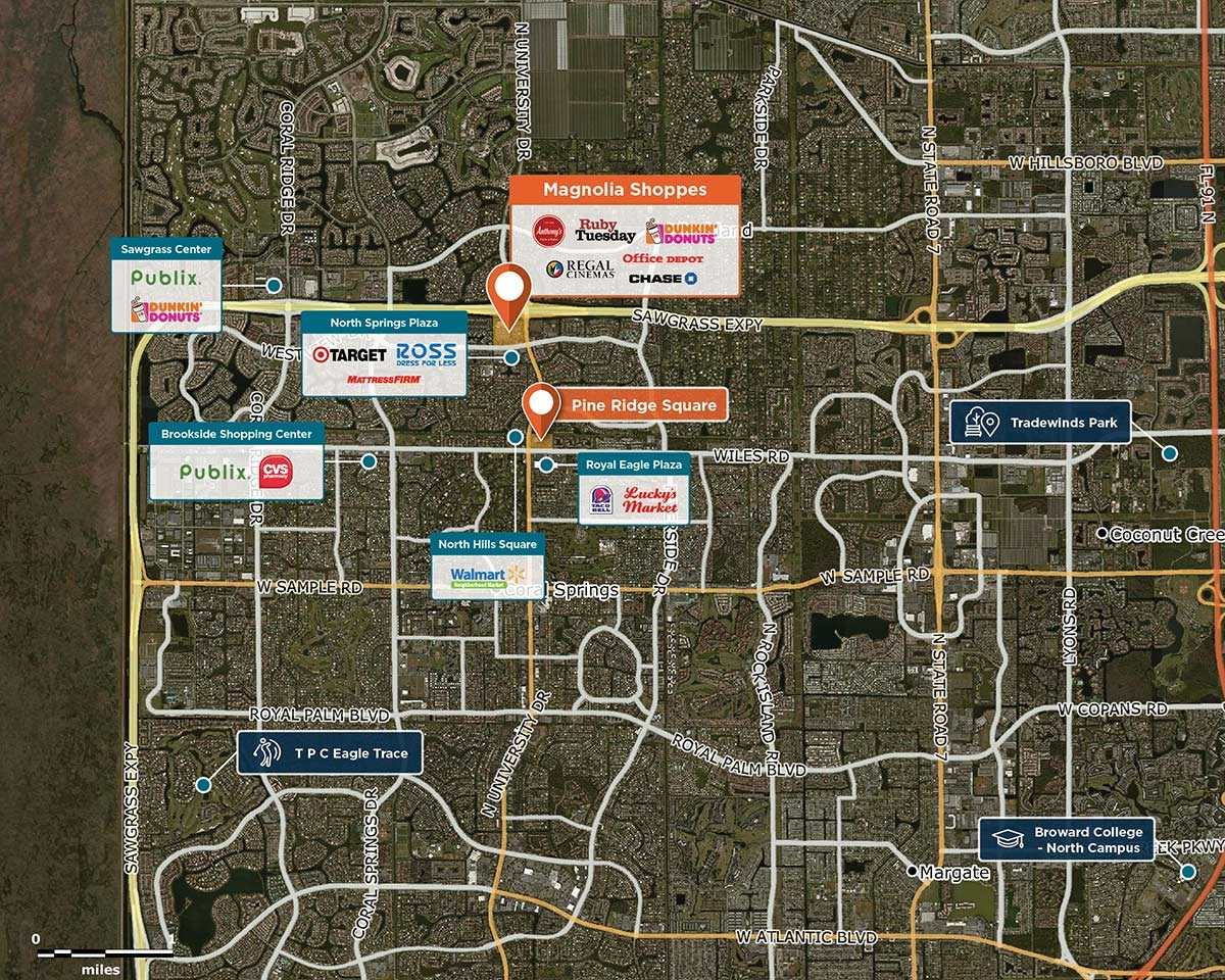 Magnolia Shoppes Trade Area Map for Coral Springs, FL 33076